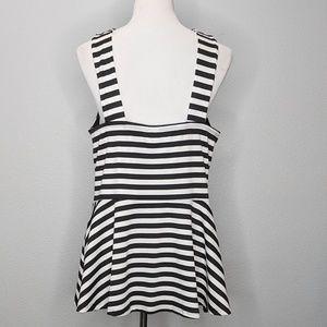 torrid Tops - Torrid black white stripe peplum top sz 2 NWOT